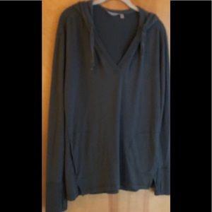 Athleta gray green hooded v-neck pullover size M